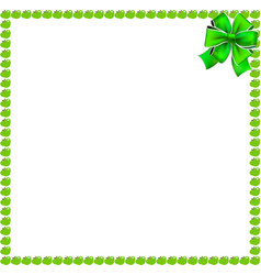 Green apple square border with festive ribbon vector
