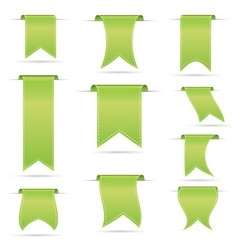 Green hanging curved ribbon banners set eps10 vector