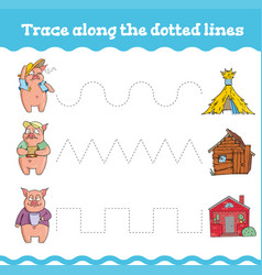 handwriting practice education games with three vector image