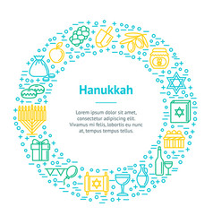 hanukkah thin line banner card circle vector image