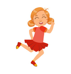 happy little girl running and smiling in red dress vector image