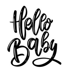 hello balettering phrase on white background vector image