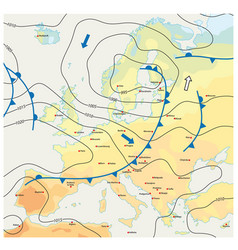 imaginary meteorological weather map europe vector image