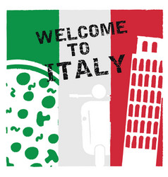 italy welcome in color icon design vector image