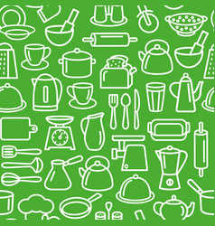 Kitchen tools pattern cooking set kitchenware vector