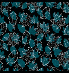 Leaves seamless double blue vector