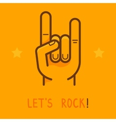 Lets rock banner in outline style vector