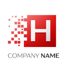 letter h logo symbol in the colorful square with vector image