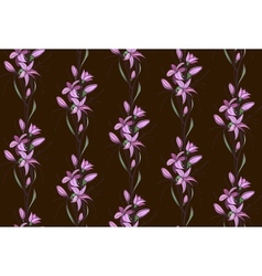 Lily Flowers Seamless Pattern on Dark Background vector image vector image