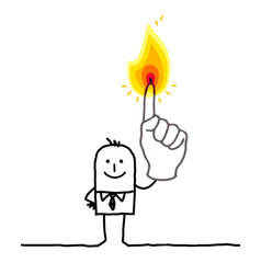 Man with one burning fingers vector