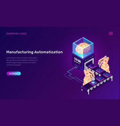 Manufacturing automation isometric concept vector