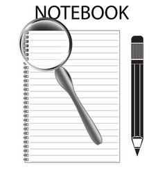 notebook pencil and magnifier on white vector image
