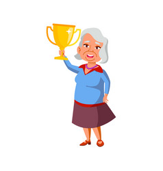 Old woman holding award won in competition cartoon vector