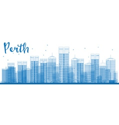 Perth skyline with blue buildings vector