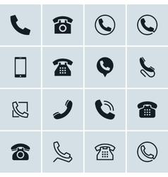 Phone icons set 16 telephone symbols vector