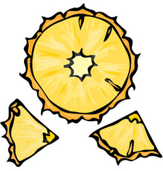 pineapple slice doodle style background vector image