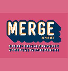 Retro 3d display font design alphabet letters vector