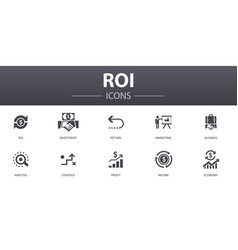 Roi simple concept icons set contains such icons vector