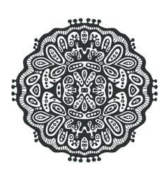 Round decor element black and white vector image