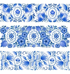 Russian traditional blue ornament in gzhel style vector image