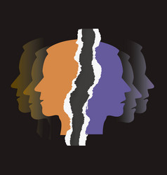 Schizophrenia depression male head silhouettes vector