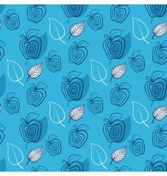 Seamless pattern with appleAppleblueleaf vector image