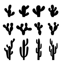 set black silhouettes cactuses vector image