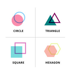 set logo geometric overlapping isolated vector image