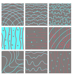 Set of color hand-drawing wave sea background vector