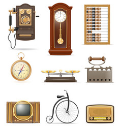 Set of much objects retro old vintage icons stock vector