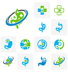 set of stomach with plus logo simbol healthy vector image