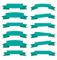 set of twelve green ribbons and banners vector image