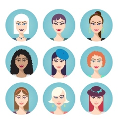 set of women characters vector image