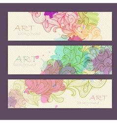 Set ornamental artistic watercolor banners vector