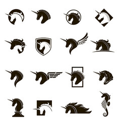 set unicorn heads vector image