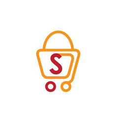shopping bag trolley sale logo vector image