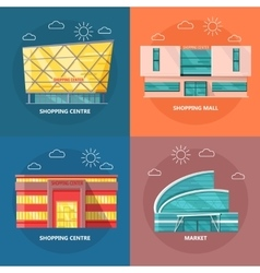 Shopping Centre Icon Set in Flat Design vector