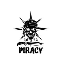 Skull pirate in bandana icon for tattoo design vector