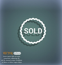 Sold icon symbol on the blue-green abstract vector image