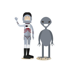 Space people concept flat vector
