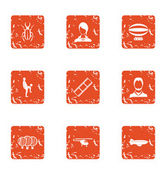 Sport gathering icons set grunge style vector
