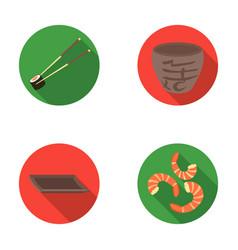 sticks shrimp substrate bowlsushi set vector image