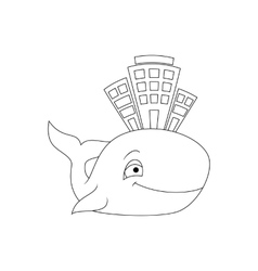 Stylized house at the whale vector image