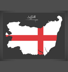suffolk map england uk with english national flag vector image