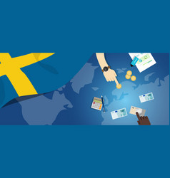 sweden fiscal money trade concept of vector image