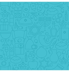 Thin Line Holiday Happy Hanukkah Blue Seamless vector image