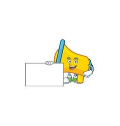 Thumbs up with board yellow loudspeaker cartoon vector