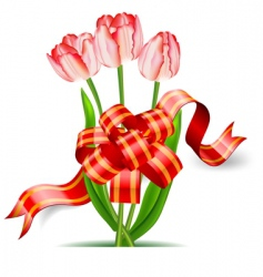 tulips and bow vector image