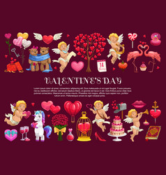 valentines day gifts hearts and cupids vector image