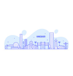 vancouver skyline canada city linear art vector image